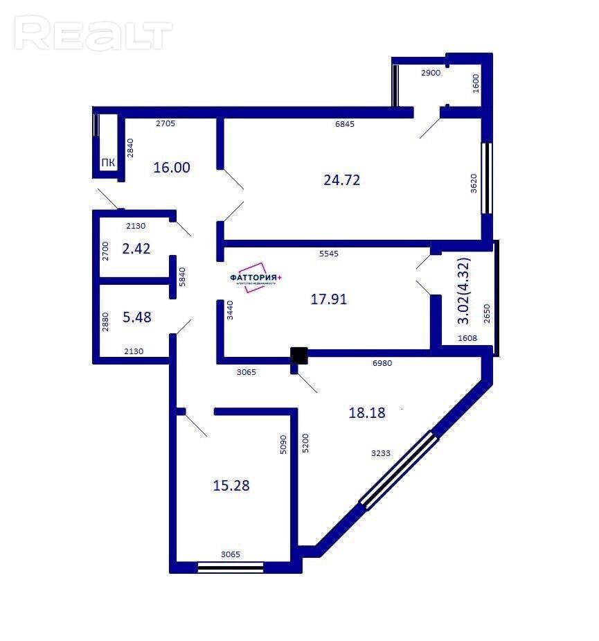 3-х комнатная квартира в центре Минска