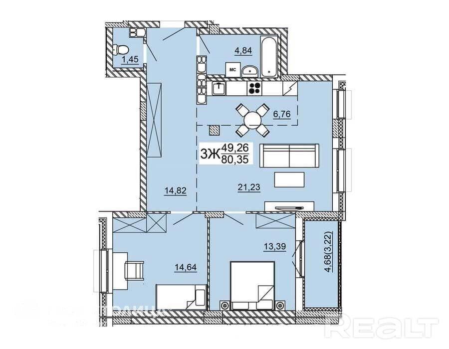 Продажа 3-х комнатной квартиры, г. Минск, ул. Нововиленская (р-н Левада). Цена 279 691 руб