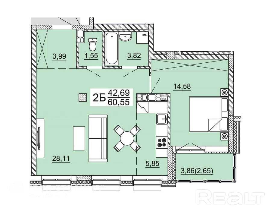 Продажа 2-х комнатной квартиры, г. Минск, ул. Нововиленская (р-н Левада). Цена 211 900 руб