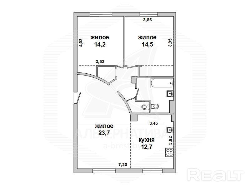 Wohnung 3 Zimmer 82 m² in Brest, Weißrussland - 55903124