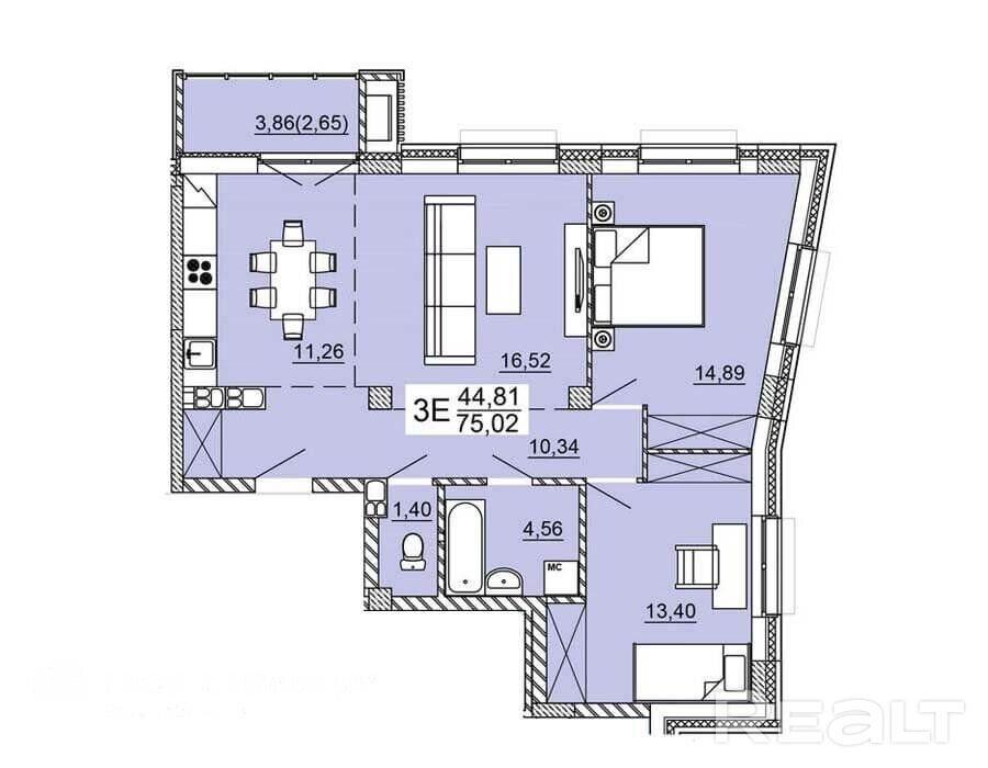 Продажа 3-х комнатной квартиры, г. Минск, ул. Нововиленская (р-н Левада). Цена 261 139 руб