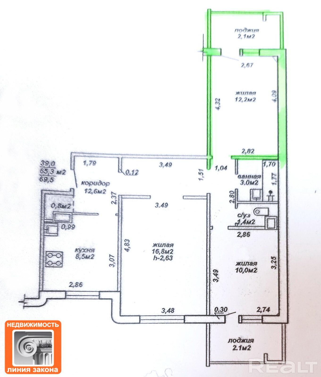 Продажа комнаты в 3-комнатной квартире в г. Гомеле, ул. Мазурова, дом 88 (р-н Залинейный). Цена 21 199 руб