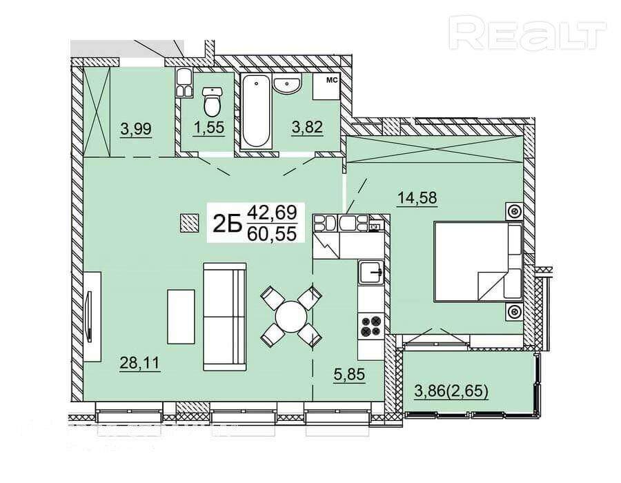 Продажа 2-х комнатной квартиры, г. Минск, ул. Нововиленская (р-н Левада). Цена 233 680 руб