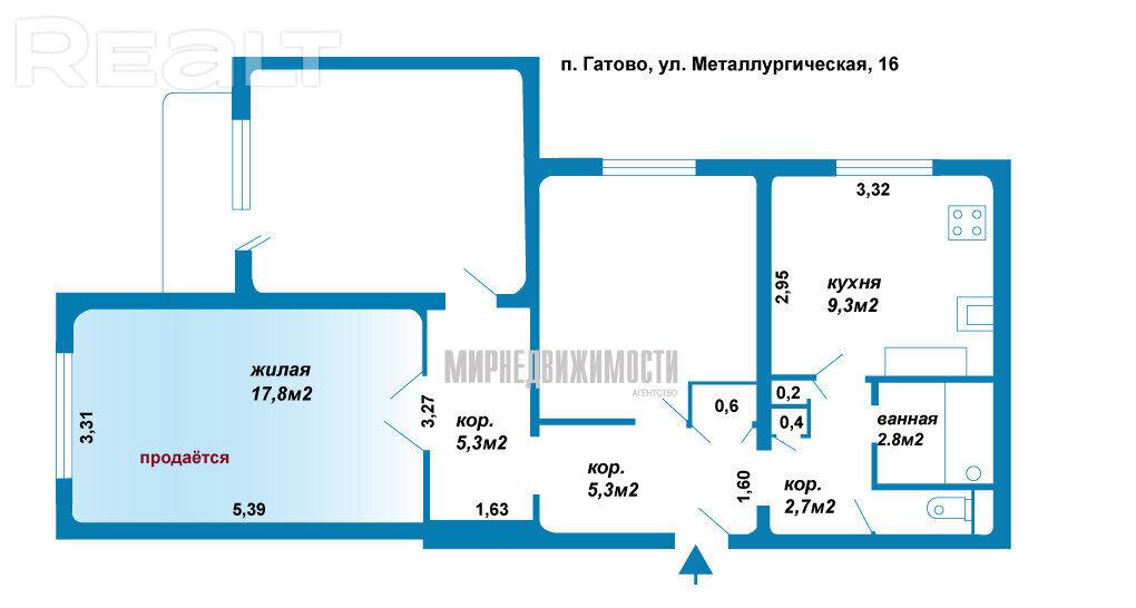 Комната в трёхкомнатной квартире, Гатово, Металлургическая, 16