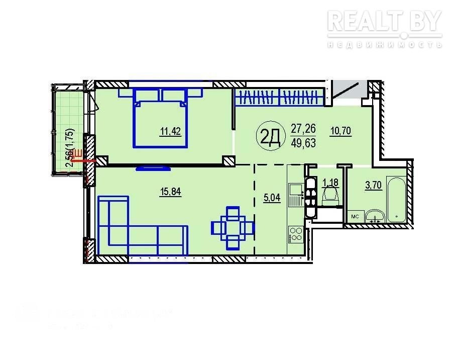 Продажа 2-х комнатной квартиры в г. Минске, ул. Зубачева (р-н Курасовщина). Цена 148 533 руб