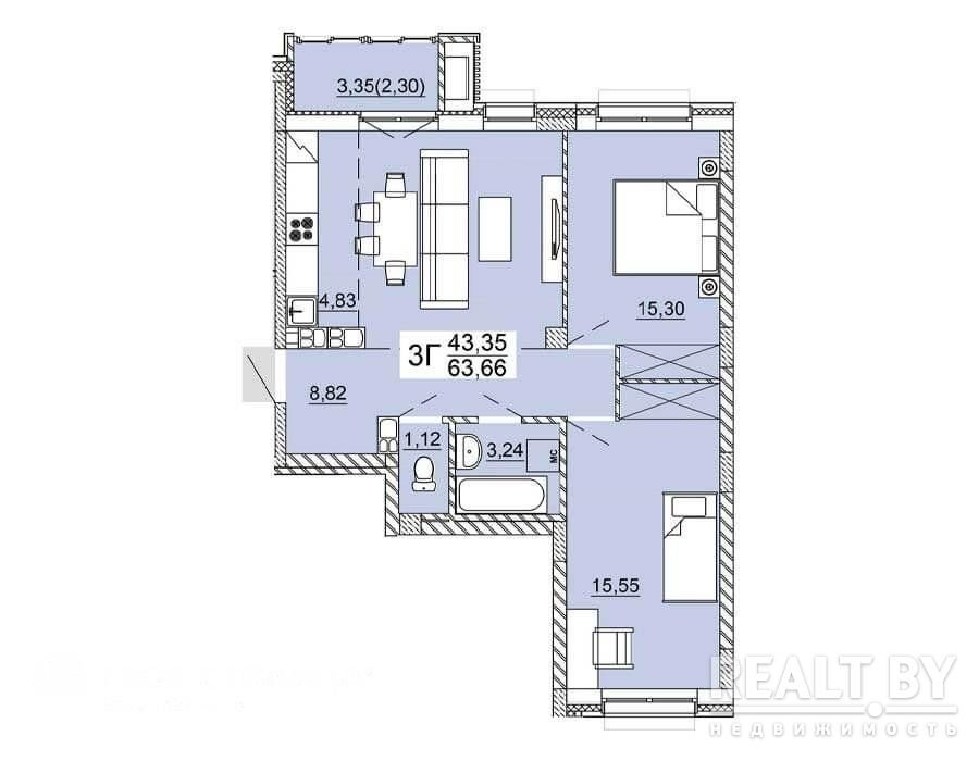 Продажа 3-х комнатной квартиры, г. Минск, ул. Нововиленская (р-н Левада). Цена 245 682 руб