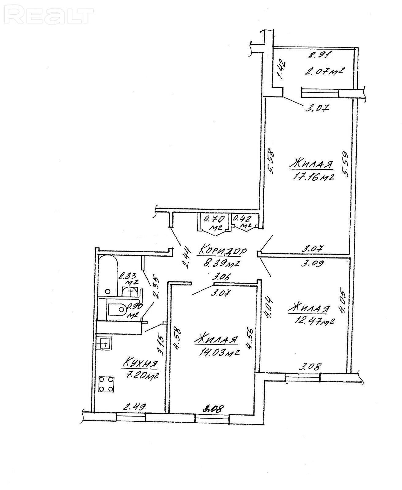 Продажа 3-х комнатной квартиры, ул. Лещинского, дом 17 (р-н Кунцевщина).
